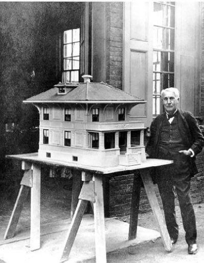 Thomas Edison with his concrete house design